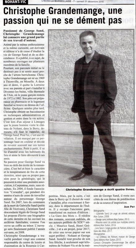 L'Echo - La Marseillaise - 31 décembre 2016